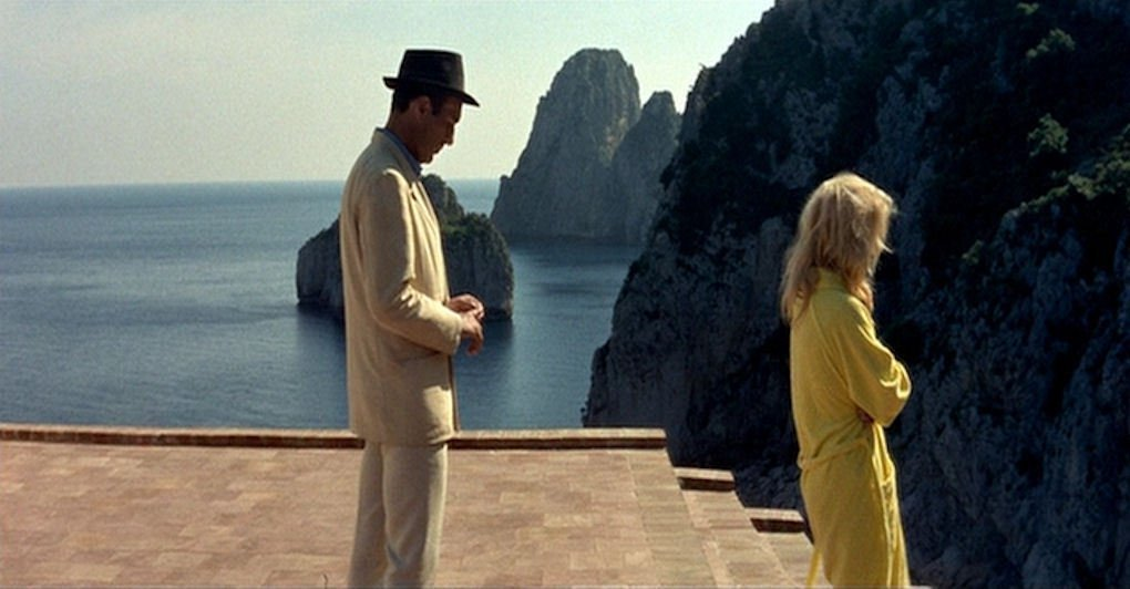 Brigitte Bardot and Michel Piccoli in the movie Contempts - Casa Malaparte - Contempt
