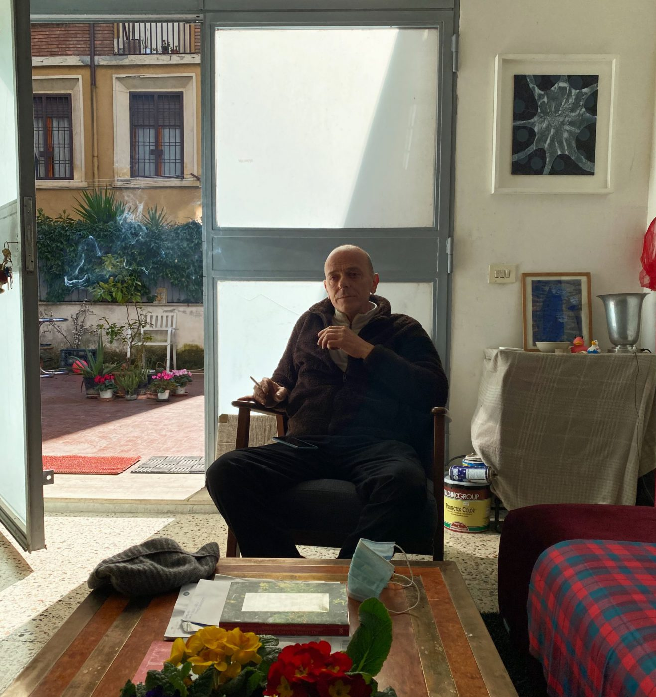Alberto di Fabio in his studio in Rome, Pigneto