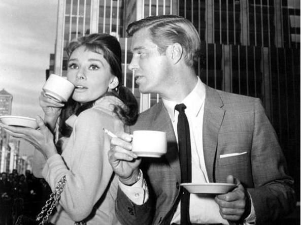 Audrey Hepburn and George Peppard enjoying their Cappuccino